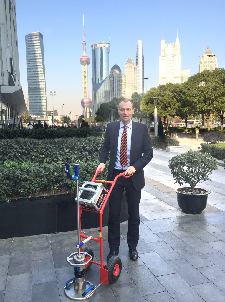 CEO Mr Schulz with TERRATEST Light Weight Deflectometer in Shanghai