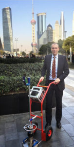 Mr. Schulz with Light weight deflectometer on Bauma Shanghai